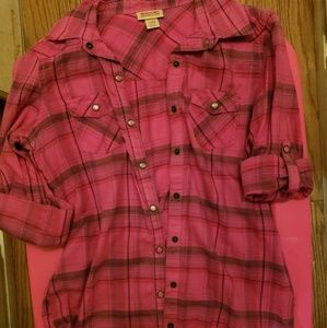 Mossimo xs pink plaid button up